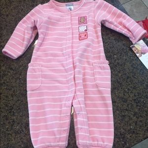Baby Girl 9 mo Pink Striped Jumpsuit